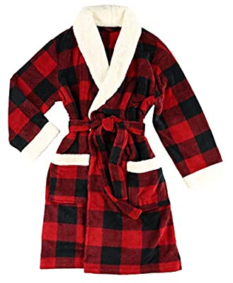 Lazy One Moose Plaid Ultra-Cozy Bathrobes for Women (S/M) by