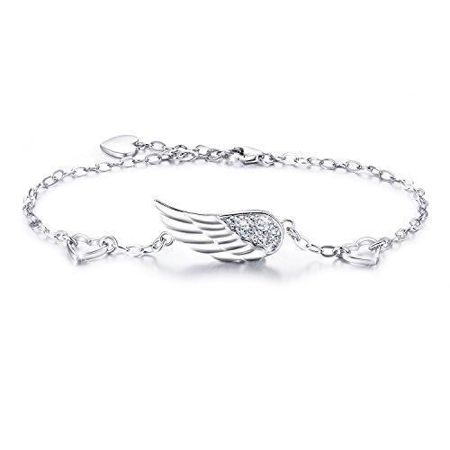 Billie Bijoux 925 Sterlingsilber Frauen Engels Flügel justierbares Kettenarmband-Diamant-weißes Gold überzogenes Knöchel Armband Frauen Geschenk