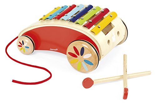 Janod Tatoo Xylo Roller – Musical Rolling Wooden Xylophone Pull-Along Toy -Encourages Creativity and Motor Skills - 18 Months