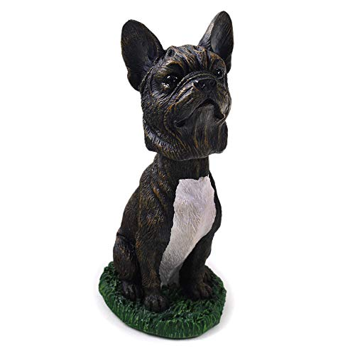 Animal Den French Bulldog Black and White Dog Bobblehead Figure Toy for Car Dash Desk Fun Toy Accessory