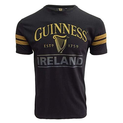 Guinness Schwarz Deep Tan Tape T-Shirt mit Harfe und Irland Text Design | Lässiges stilvolles Baumwolle Tee Shirt Top für Herren (L)