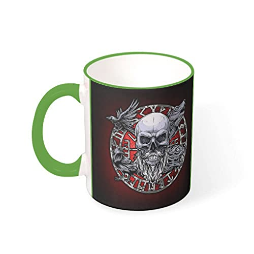 OwlOwlfan Viking Raven Wolf Skull Compass Runes Colored Ceramic Mug Funny Coffee Cup Mark Cup With Handle for Home Office Birthday Festival Gift For Boys Girls green 330ml