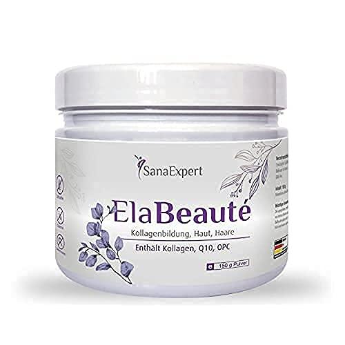 SanaExpert ElaBeauté, Nahrungsergänzung mit Kollagen, Q10, OPC, Zink & Vitaminen, Kollagenbildung, Haut und Haare, Kollagenpulver, 150g