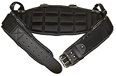 Gatorback Pro-Comfort Back Support Belt Black w/White Stitching. 1250 Duratek Nylon Belt with Molded Air Channel Padding, Carrying Handles and Suspender Loops. Contractor Pro from Contractor Pro