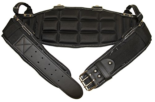 Gatorback Pro-Comfort Back Support Belt Black w/White Stitching. 1250 Duratek Nylon Belt with Molded Air Channel Padding, Carrying Handles and Suspender Loops. Contractor Pro (2XL 45-49 Inch Waist)