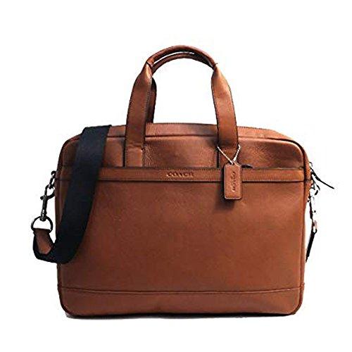 Coach Mens Leather Hamilton Commuter Briefcase Laptop Bag Saddle