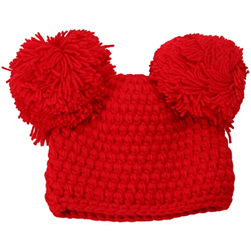 ABOOFAN Gorro de bebé de Navidad Gorro de punto de invierno Gorro de ganchillo cálido de punto de calavera Gorro de esquí Pompom para niños Bebé, 710ZMCSPWVOD06470ZQCM6, rojo, 19x15cm