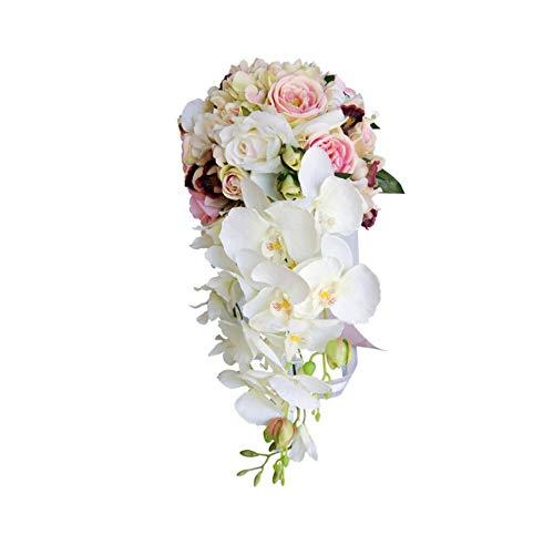 LiGHT-S Wasserfall-Blumen-Brautsträuße Rosa-weiße Hochzeit Blumen Künstliche Hochzeit Bouquets Hochzeit Zubehör, Same As Pic1