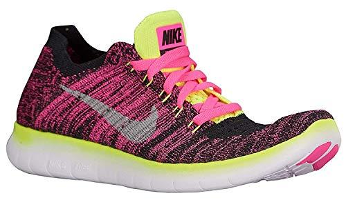 NIKE Girls Free RN Flyknit Running Shoes (6.5 (M) US Big Kid, Pink Blast/Metallic Silver/Volt/Black/White)