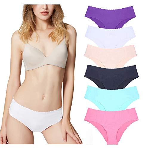 Misolin Damen Slips Nahtlos Unterwäsche Bikinis Taillenslips Seamless Unsichtbare Dehnbare Bequeme Panties Hipsters 6 Pack Mehrfarbig S