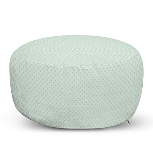 Ambesonne Mint Ottoman Pouf, Retro Style Polka Dots Motifs Nostalgic Hipster Style All Time Fashion Elements, Decorative Soft Foot Rest with Removable Cover Living Room and Bedroom, Green