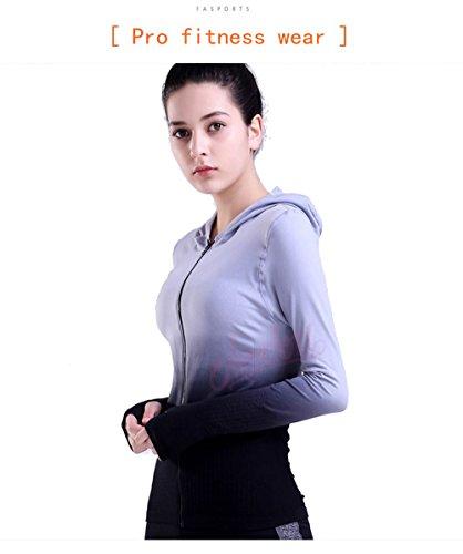 Women's Stretchy Long Sleeve Yoga Hoodie Full Zipper Running Gym Hoodie Slim Fit L Black