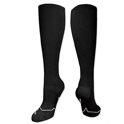 Be-ryl Calze sportive rosse da donna con tracciato ECG di moda e calze lunghe al ginocchio