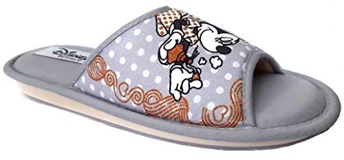 de fonseca Disney Minnie Pantofole Donna Cotone MOD. Bari E PA W681 Grigio (Numeric_40)