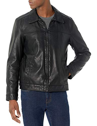 Tommy Hilfiger Men's Classic Faux Leather Jacket, black, Large