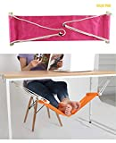 Home-organizer Tech Portable Adjustable Foot Hammock for Corner Desk Office Foot Rest Mini Under Desk Foot Rest Hammock for Home, Office, Airplane, Travel, Study and Relaxing (Pink)