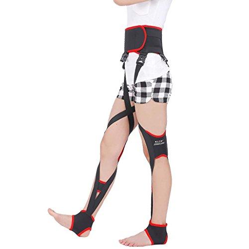 Leg correction X/O Type Band/Leg Straightening Bandage Belt/Leg Flexure Belt/Enhanced Type Day and Night Dual Roscloud@ (Color : Black, Size : L)