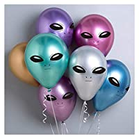 バルーン 10ピースエイリアンバルーン誕生日バルーンetパーティーデコレーション肥厚ラテックスメタルバルーンパーティーハロウィーン球子 パーティー (Color : 10pcs Random color)