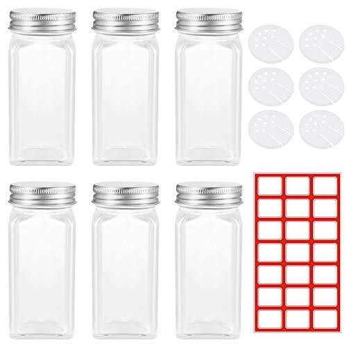 6 Piezas Tarros de Especias Cuadrados Botella de Cristal para Especias con 21 Hojas de Papel de Etiquetas Pequeñas de 34 x 27 mm Utilizado para el Almacenamiento de Especias