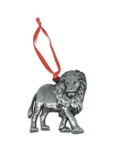 Lion Christmas Ornament Pewter Charm Decorative Vacation Travel Souvenir Zoo Safari Jungle Animals Theme Decorations