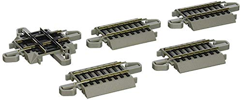 Bachmann Trains - Snap-Fit E-Z TRACK 90 DEGREE CROSSING (1/card) - NICKEL SILVER Rail With Gray Roadbed - HO Scale