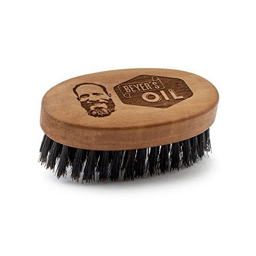 Beyer's Oil Grande brosse à barbe 90 x 50 mm - Fabriquée à la main en bois de poirier - Soigne et lisse la barbe.
