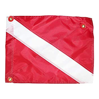 SGT KNOTS Nylon Alpha Diver Down Safety Flag - International Scuba Diving and Underwater Activities  14x18 in RedWhite