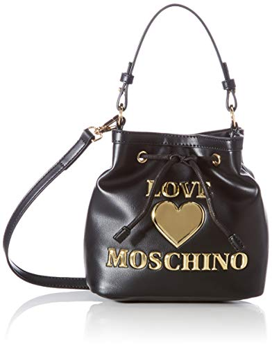 Love Moschino Precollezione SS21   Borsa a Secchiello PU da Donna, Bandolera para Mujer, Negro, Normal