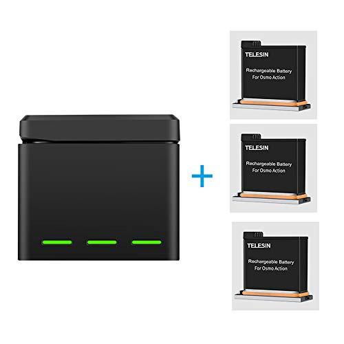 TELESIN OSMO Action Batería (3.85 V 1300 mAh), y rápido 3 Canales Inteligentes Cargador Carga y Almacenamiento de la batería 2 en 1 para la cámara de acción dji OSMO (Cargador + 3 Batería)