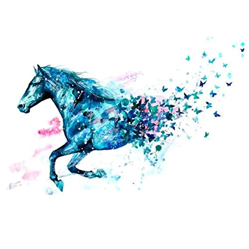 JUSTFOX - Temporäres Tattoo Pferd Schmetterling Blau Design Temporary Klebetattoo Körperkunst