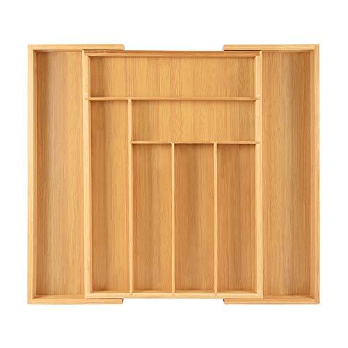 Bandeja de cubiertos ajustable de bambú
