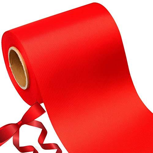22m Ruban de Satin,Bunahome à Double Face Satin Couleurs Vives pour DIY, Mariage, Fête et Emballage Cadeau, Faire nœud Papillon(Rouge)