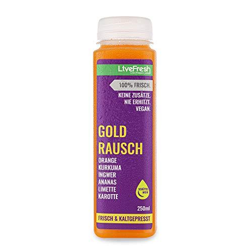 LiveFresh GOLD RAUSCH 250ml Wellness Saft | Kaltgepresst aus frischer Orange, Ananas, Karotte, Ingwer, Kurkuma, Limette | Keine Zusätze, kein zusätzlicher Zucker | Gekühlt und isoliert geliefert