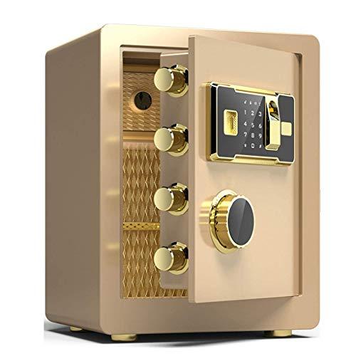 DJPP Cajas Fuertes Seguridad Huella Digital Cerradura de Llave Electrónica de 3 Capas 38X32X45Cm Hoja de Puerta 10Mm Tratamiento de Superficie de Alta Calidad Caja de Seguro Caja de Seguridad,Oro