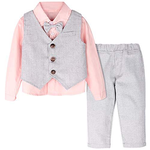 mintgreen Baby Jungen 3 Stück Gentelman Anzug Outfits Festliche Taufanzug Hochzeitanzug, Rosa, 3-4 Jahre (Herstellergröße : 110)