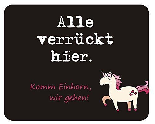 m. kern Mousepad Alle verr&uumlckt Einhorn, Kunststoff, schwarz, 24.x19 cm