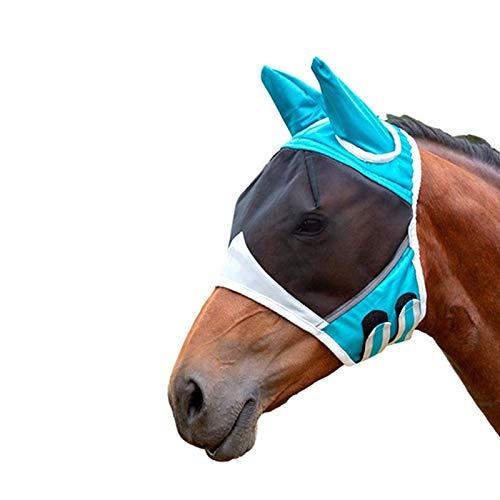 Máscara de mosca de malla fina con orejas transpirable máscara de caballo anti mosquito para caballo azul y blanco M