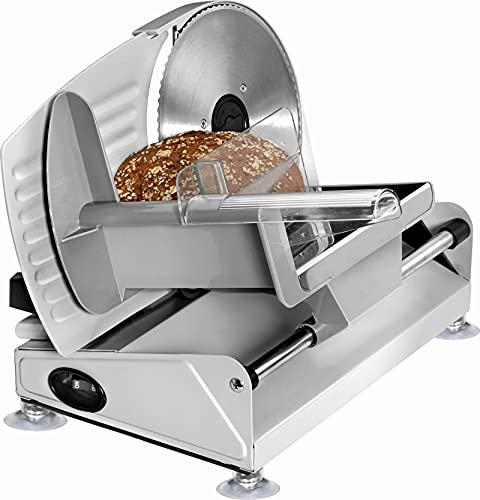 Edelstahl Allesschneider Multischneider Schneider Brot-Maschine Elektromesser (leistungsstarke 150 Watt, Schnittstärke von 0-15 mm, Restehalter mit Fingerschutz)