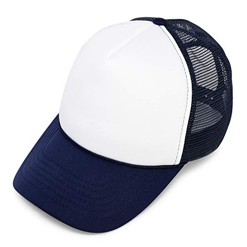 DALIX Youth Trucker Hat Mesh Adjustable Blank Cap Snapback in Navy Blue and White