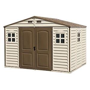 Duramax Caseta de PVC Woodside 10X8, Beige/Marron, 8,02 m²