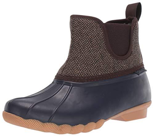 Skechers Damen POND - Mid Herringbone Chelsea Duck Boot with Waterproof Outsole Regenstiefel, Marineblau/Braun, 39 EU