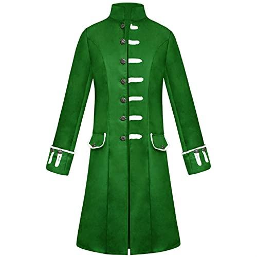 HUANDE Disfraz vikingo, de Leopold Gambeson, de tela de ante y cuello alto, para hombre, verde, XXL