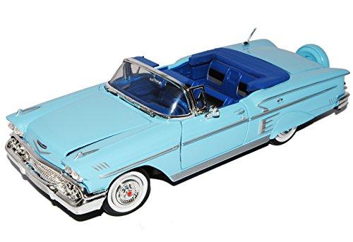 Motormax Chevrolet Chevy Impala Cabrio Blau Offen 1958 Oldtimer 1/24 Modell Auto