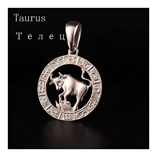 DERFX 12 Zodiac Sign Womens Mens Rose Gold Color Constellation Pendants Pisces Aquarius Curb Necklace Chain (Main Stone Color : Only pendant, Metal Color : Taurus)