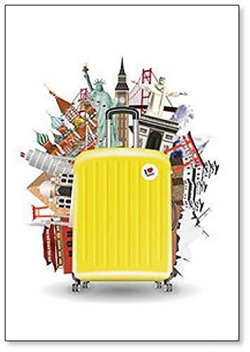 Koffer Reistas Met Wereld Reizen Landmark Klassieke Koelkast Magneet