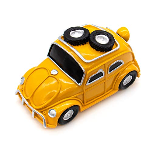 AUEAR, Vintage Car Piggy Bank Car Shatterproof Resin Coin Bank Retro Crafts Money Box Kids Banks Personalized Piggy Banks (Yellow)