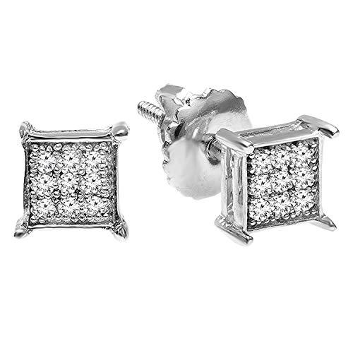 Dazzlingrock Collection Pendientes redondos de 0,06 quilates de diamantes blancos cultivados en laboratorio con forma cuadrada para hombre, plata de ley 925