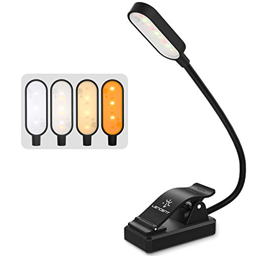 Luz de Lectura Recargable(4 Colores), LENCENT 9 LED con 12 Modos de Luz, 360 ° Flexible Lámpara de Libro Clip Pinza para Leer Libros, Revistas, Estudio y Viajar etc.[Ámbar / Blanco / Cálido / Mixto]