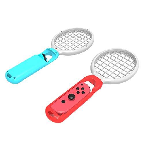 HaiQianXin 2 stücke Tennis Gaming Sensor Tennisschläger Griff Controller für Nintendo Schalter Mario Tennis Aces Joy-Con Controller (Color : Red+Blue)