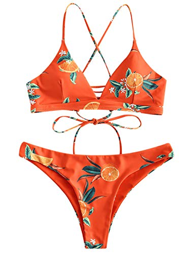 ZAFUL Damen Orange Druck Spaghetti-Träger Lace-up Gepolstert Bikini Set Papaya Orange S